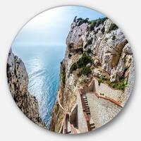 Designart 'Stairway to Neptune's Grotto' Seashore Disc Metal Artwork