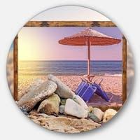 Designart 'Framed Beach Sunset' Seashore Art Round Wall Art