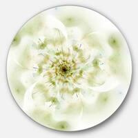 Designart 'Full Bloom Fractal Flower in White' Flower Round Metal Wall Art