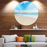 Designart 'Sea Beach against Wave Foaming' Contemporary Seascape Round Wall Art