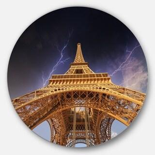 Designart 'Storm above Paris Eiffel Tower in Paris' Cityscape Disc Metal Artwork