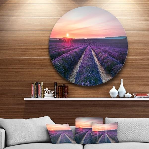 Designart Endless Rows Of Lavender Flowers Modern Landscape Large Disc Metal Wall Art Overstock 14252627