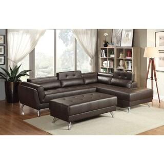 Alamo Bonded Leather 2-piece Sectional Sofa Set (Brown)