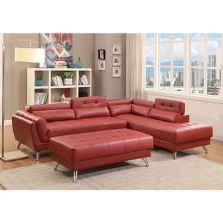 Alamo Bonded Leather 2-piece Sectional Sofa Set (Red)