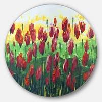 Designart 'Wild Red Poppies Field Panorama' Modern Landscape Round Metal Wall Art