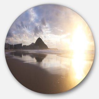 Designart 'Sunset at Donostia Beach' Seashore Disc Metal Wall Art