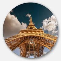 Designart 'Beautiful View of Paris Eiffel Tower under Dark Sky' Cityscape Circle Wall Art
