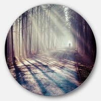Designart 'Strong Sunbeams in Thick Forest' Landscape Photo Disc Metal Wall Art