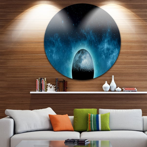 Designart 'Moon In the Front of Galaxies' Large Disc Metal Wall art Landscape
