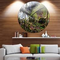 Designart 'Creek and Bridge with Sunbeams' Landscape Photo Round Wall Art
