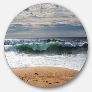 Designart 'Blue Waves and Blue Sky' Seashore Disc Metal Artwork