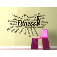 Sports Gym Words Motivational Fitness Health Fitness Club Sport Workout Poster Sticker Decal size 48x57 Color Black
