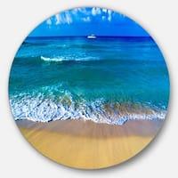 Designart 'Floating Blue Waves Beach' Seashore Large Disc Metal Wall art