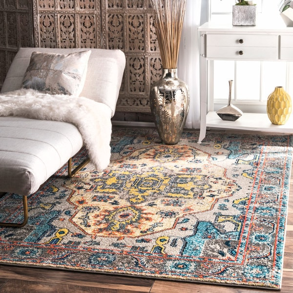 nuLOOM Distressed Abstract Vintage Oriental Grey Border Rug (5'3 x 7'7)