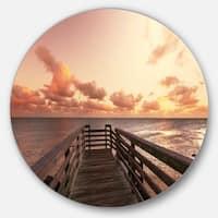 Designart 'Boardwalk on Beach Wooden Pier' Sea Bridge Round Wall Art