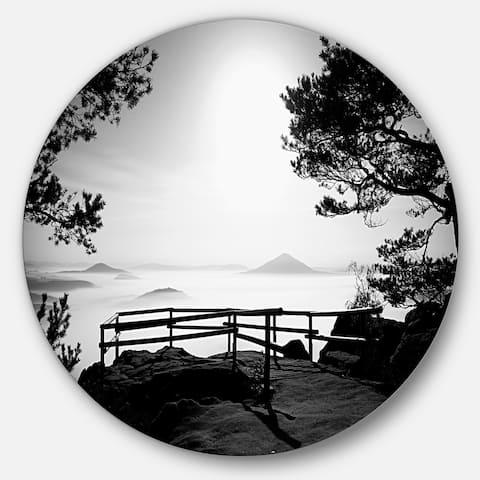 Designart 'Full Moon Autumn Midnight in Black' Landscape Photo Round Metal Wall Art