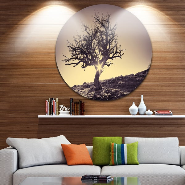 Designart 'Lonely Grey Tree in Mountain' Round Wall Art Landscape