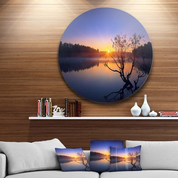 Designart Lonely Tree In Pond In Blue Disc Metal Wall Art Landscape Overstock 14252758