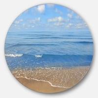 Designart 'Expansive Tropical Blue Beach' Seashore Round Metal Wall Art