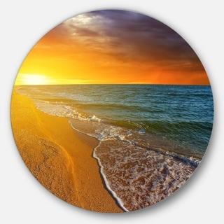 Designart 'Fantastic Yellow Sky in Blue Beach' Seashore Disc Metal Artwork