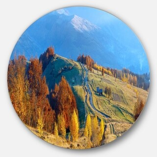 Designart 'Rural Road on Autumn Mountains' Landscape Circle Wall Art