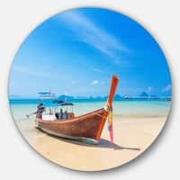Designart 'Tropical Beach with Boat' Seashore Photo Disc Metal Wall Art