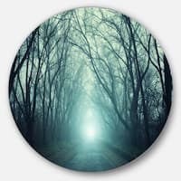 Designart 'Fall Forest Path with Green Light' Landscape Photo Disc Metal Wall Art