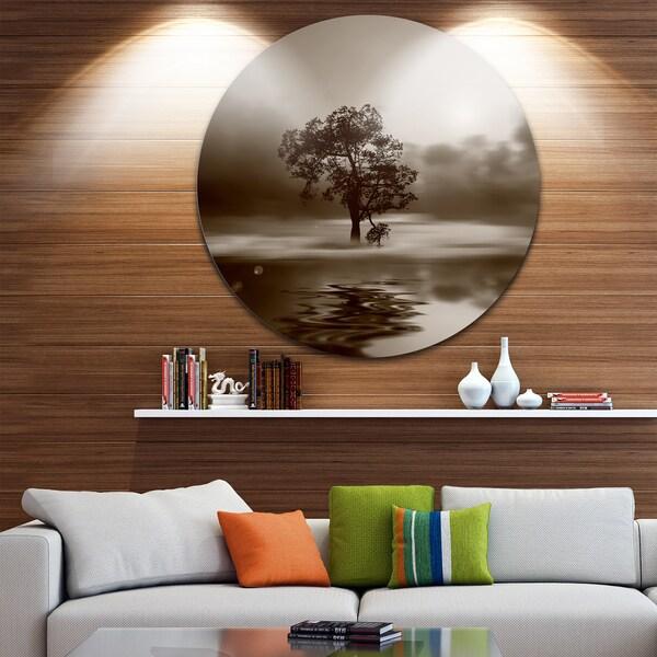 Shop Designart \'Alone Tree on Island in Sepia\' Circle Metal Wall Art ...