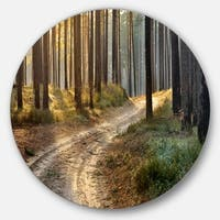 Designart 'Road in Thick Morning Forest' Landscape Photo Circle Wall Art