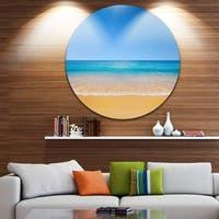 Designart 'Dark View of Tropical Beach' Seashore Photo Disc Metal Artwork