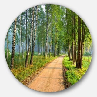 Designart 'Road in Green Morning Forest' Landscape Photo Round Metal Wall Art