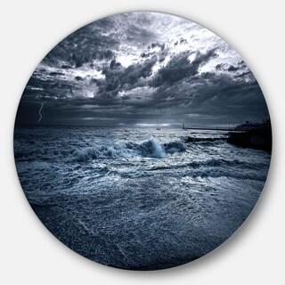 Designart 'Sochi Sea Storm in Blue' Modern Landscape Large Disc Metal Wall art