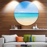 Designart 'Bright Blue Tropical Beach' Seashore Photo Large Disc Metal Wall art