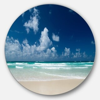 Designart 'Bright Blue Sky on Winter Day' Seashore Circle Wall Art