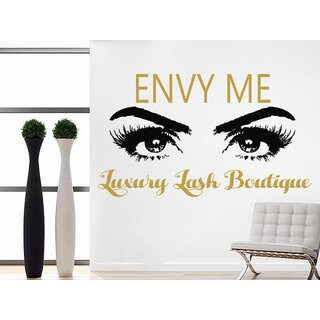 Luxury Lash Boutique Quote Beauty Salon Decor Eyes Makeup Cosmetic Hairdressing Sticker Decal size 22x30 Color Gold
