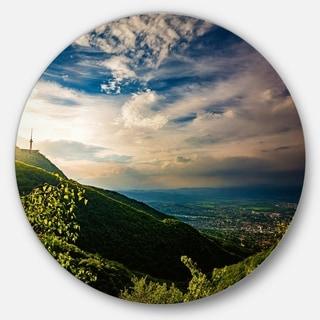 Designart ' Vitosha Mountain over Sofia Bulgaria' Landscape Circle Wall Art