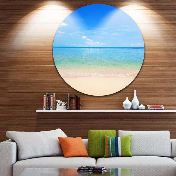 Designart 'Calm Waves at Tropical Beach' Seashore Photo Round Wall Art