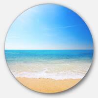 Designart 'Blue Waves at Tropical Beach' Seashore Photo Disc Metal Wall Art