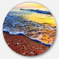 Designart 'Sunset Reflecting in Blue Waves' Seashore Round Wall Art