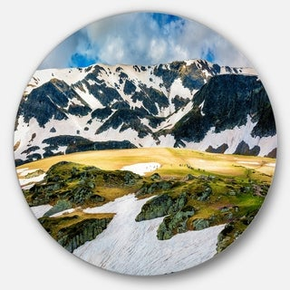Designart 'Rila lakes and Mountains in Bulgaria' Landscape Round Wall Art