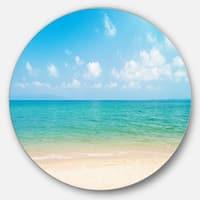 Designart 'Wide View of Tropical Beach' Seashore Photo Circle Wall Art