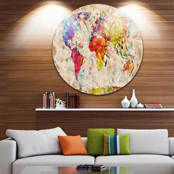 Shop Designart \'Vintage World Map Watercolor\' Maps Painting Circle ...