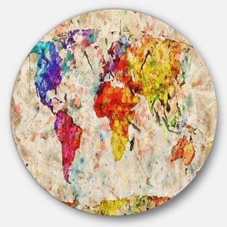 Designart 'Vintage World Map Watercolor' Maps Painting Circle Metal Wall Art
