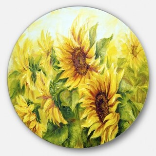 Designart 'Bright Yellow Sunny Sunflowers' Floral Painting Disc Metal Artwork