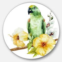 Designart 'Parrot with Flowers Watercolor' Floral Painting Circle Wall Art