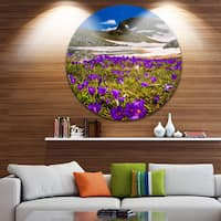 Designart 'Blooming Crocus Flowers in Rila Mountains' Landscape Circle Wall Art