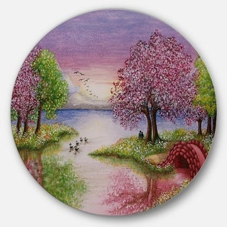 Designart 'Romantic Lake in Pink and Green' Round Metal Wall Art Landscape