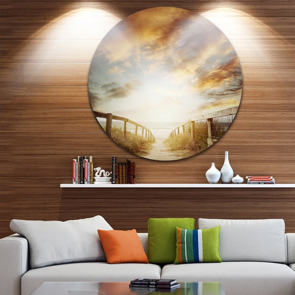 Designart 'Walkway Leading to Beach Scene' Sea Bridge Disc Metal Artwork