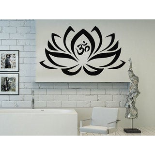 Lotus Flower Namaste Om Symbol Yoga Bohemian Bedding Sticker Decal size 48x57 Color Black