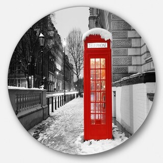 Designart 'Red London Telephone Booth' Cityscape Large Disc Metal Wall art